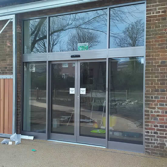 Newly installed automatic doors