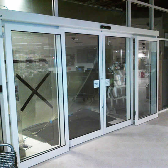 Full installation of automatic sliding entrance door