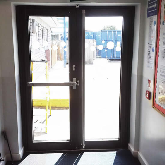 Panic bar door installation